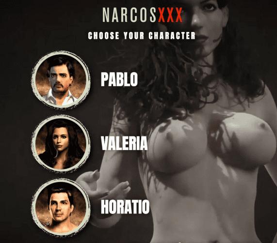 Elección de jugador para empezar el videojuego NarcosXXX: Pablo, Valeria y Horatio