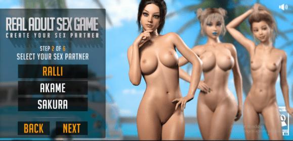 Las chicas de Real Adult Sex Game: Ralli, Akame y Sakura posan desnudas para que el jugador elija una