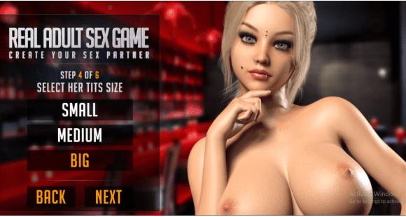 Chica rubia expone sus grandes senos y las opciones de tamaño