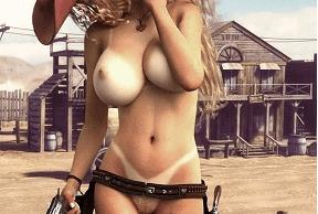 Androide vaquera desnuda posa con revólver