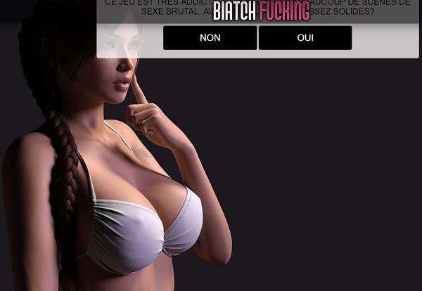 La hermosa chica de Biatch Fuking en primer plano.