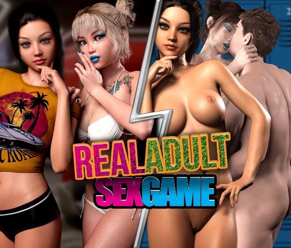 Imagen publicitaria de uno de los juegos de follar principales, Real Adult Sex Game, con las protagonistas del videojuego en primer plano.