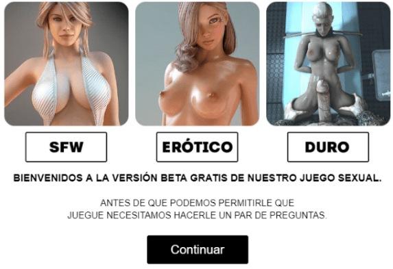 Pantalla donde se muestran las tres opciones de juego de West Sluts: SFW, Erótico y Duro. De los mejores juegos de follar.