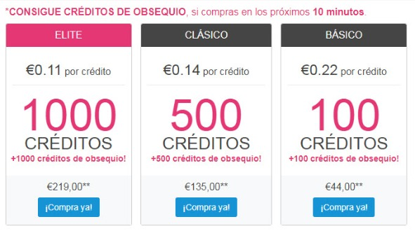 Precios de créditos de membresía en Ashley Madison
