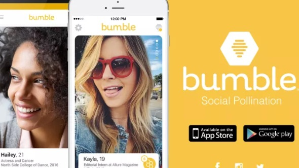 Logo de Bumble y vista de perfiles de usuarios.